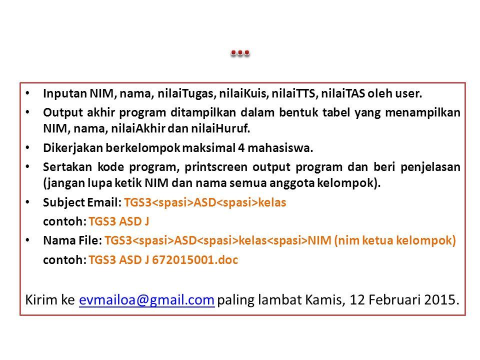 Inputan NIM, nama, nilaiTugas, nilaiKuis, nilaiTTS, nilaiTAS oleh user. Output akhir program ditampilkan dalam bentuk tabel yang menampilkan NIM, nama