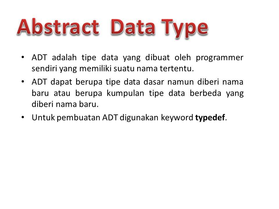 ADT adalah tipe data yang dibuat oleh programmer sendiri yang memiliki suatu nama tertentu. ADT dapat berupa tipe data dasar namun diberi nama baru at