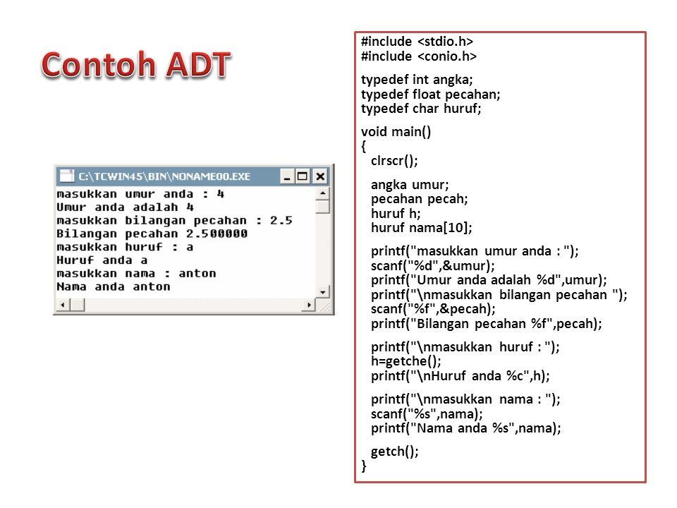 #include typedef int angka; typedef float pecahan; typedef char huruf; void main() { clrscr(); angka umur; pecahan pecah; huruf h; huruf nama[10]; pri