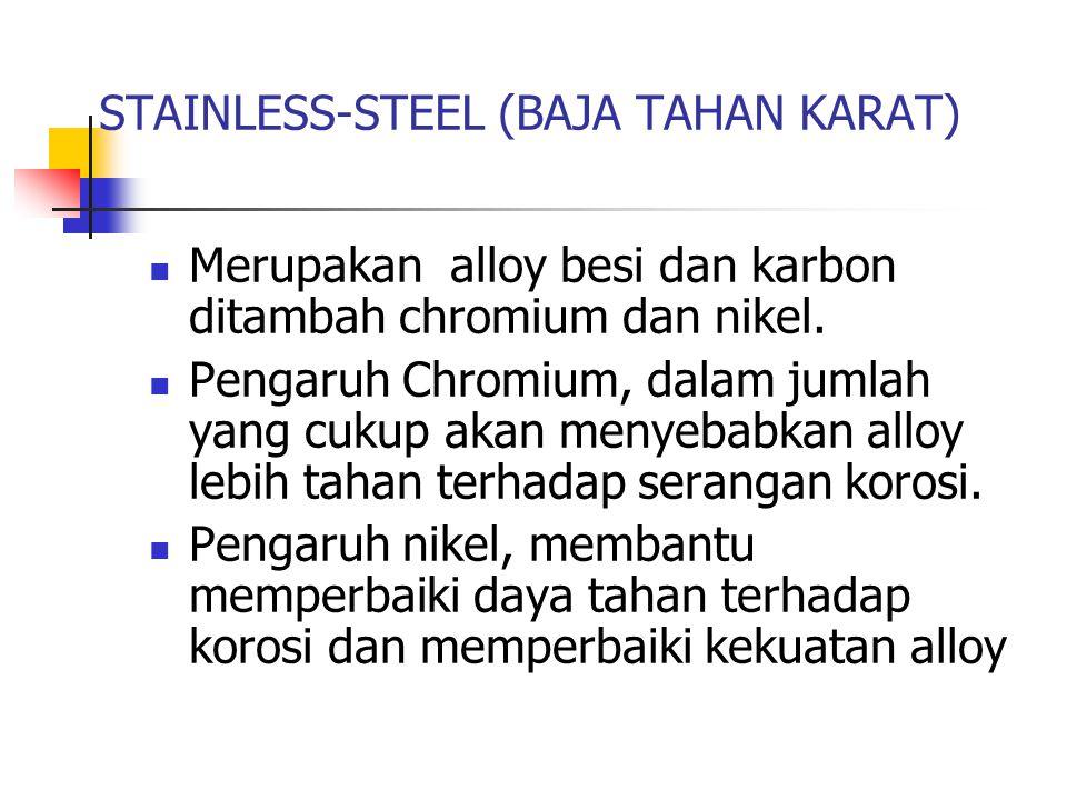 STAINLESS-STEEL (BAJA TAHAN KARAT) Merupakan alloy besi dan karbon ditambah chromium dan nikel. Pengaruh Chromium, dalam jumlah yang cukup akan menyeb