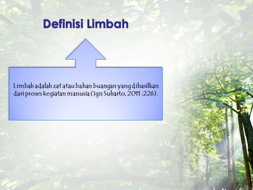 Limbah adalah zat atau bahan buangan yang dihasilkan dari proses kegiatan manusia (Ign Suharto, 2011 :226).
