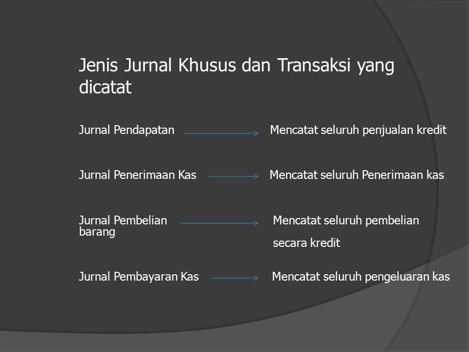Jenis Jurnal Khusus  Jurnal Penjualan (Sales Journal)  Jurnal Pembelian (Purchase Journal)  Jurnal Penerimaan Kas (Cash Reciept Journal)  Jurnal P