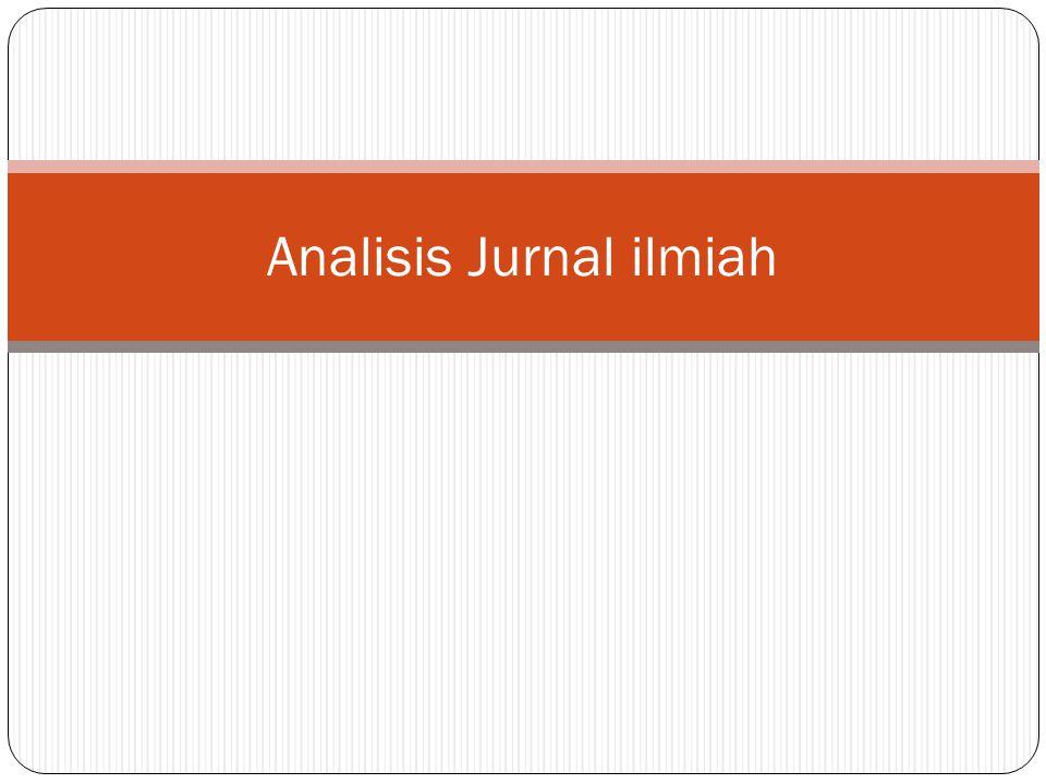 Analisis Jurnal ilmiah