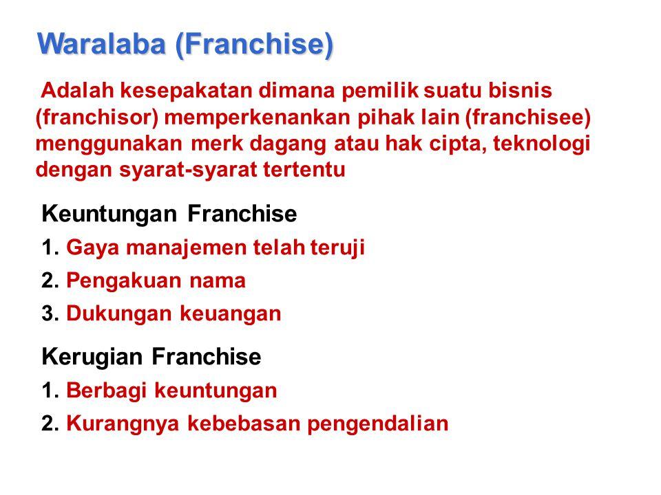 Waralaba (Franchise) Adalah kesepakatan dimana pemilik suatu bisnis (franchisor) memperkenankan pihak lain (franchisee) menggunakan merk dagang atau h
