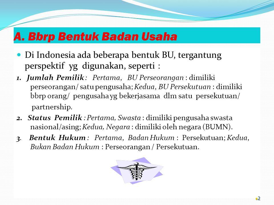 A. Bbrp Bentuk Badan Usaha Di Indonesia ada beberapa bentuk BU, tergantung perspektif yg digunakan, seperti : 1. Jumlah Pemilik : Pertama, BU Perseora