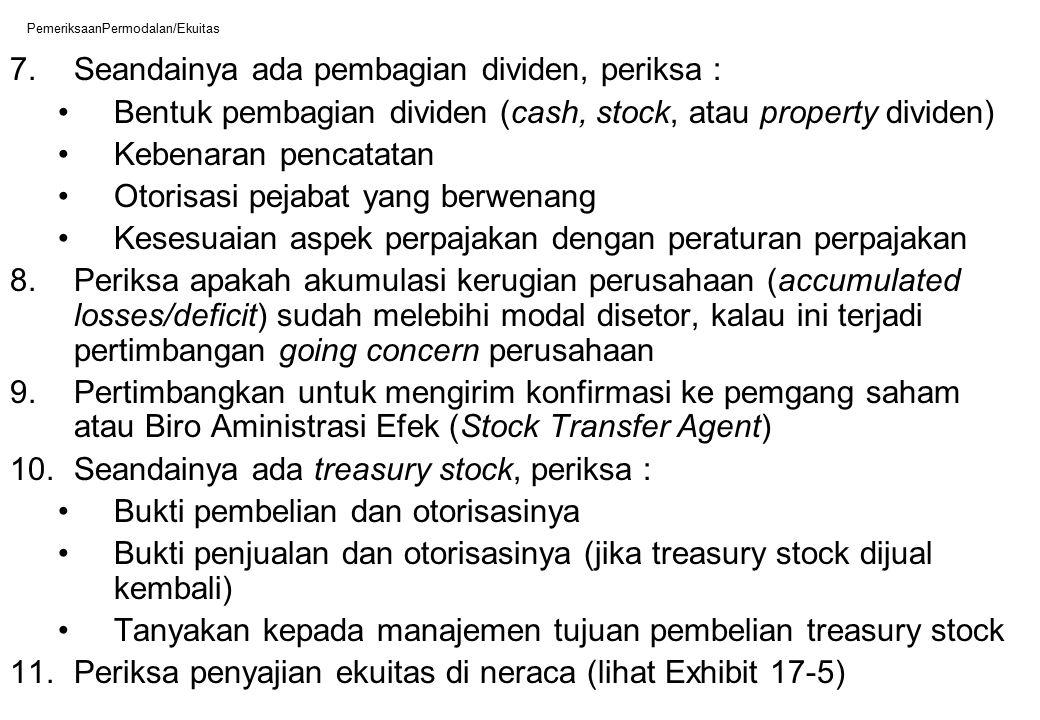 PemeriksaanPermodalan/Ekuitas 7.Seandainya ada pembagian dividen, periksa : Bentuk pembagian dividen (cash, stock, atau property dividen) Kebenaran pe