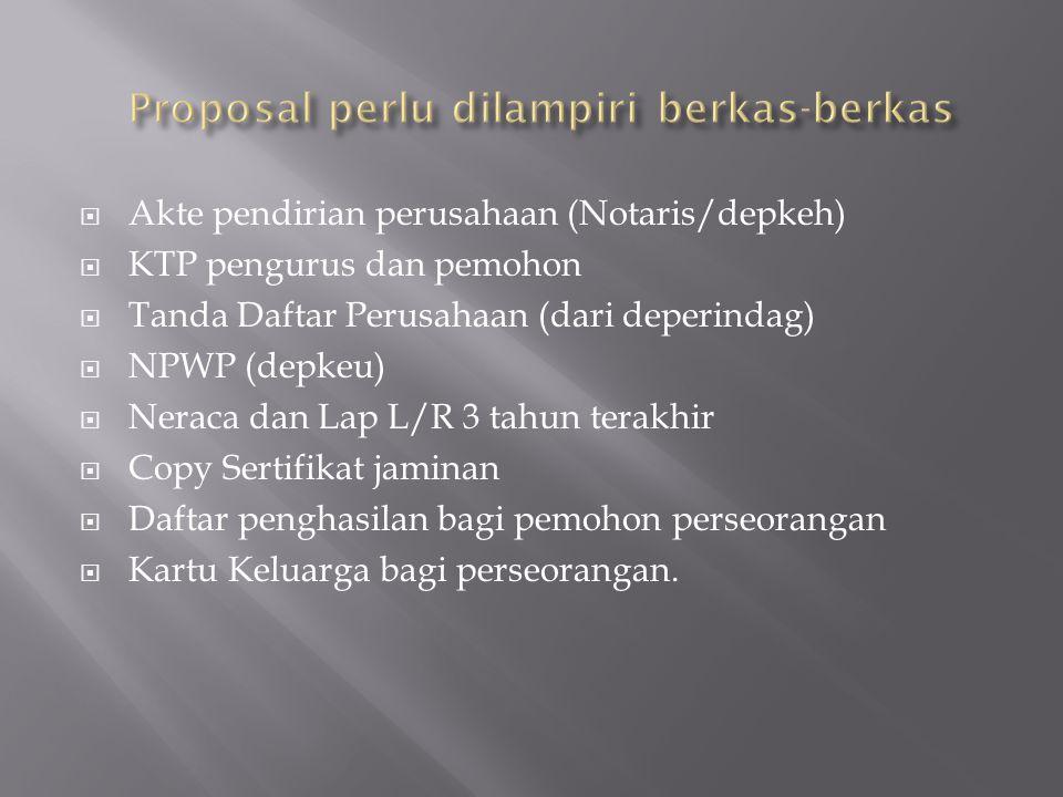  Akte pendirian perusahaan (Notaris/depkeh)  KTP pengurus dan pemohon  Tanda Daftar Perusahaan (dari deperindag)  NPWP (depkeu)  Neraca dan Lap L