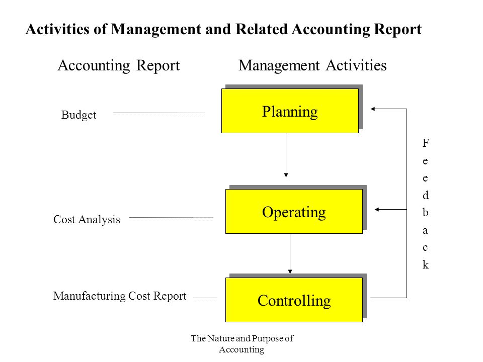 The Nature and Purpose of Accounting Planning Operating Controlling Budget Cost Analysis Manufacturing Cost Report Accounting ReportManagement Activit