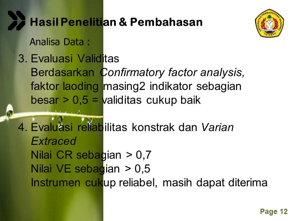 Page 12 3. Evaluasi Validitas Berdasarkan Confirmatory factor analysis, faktor laoding masing2 indikator sebagian besar > 0,5 = validitas cukup baik 4