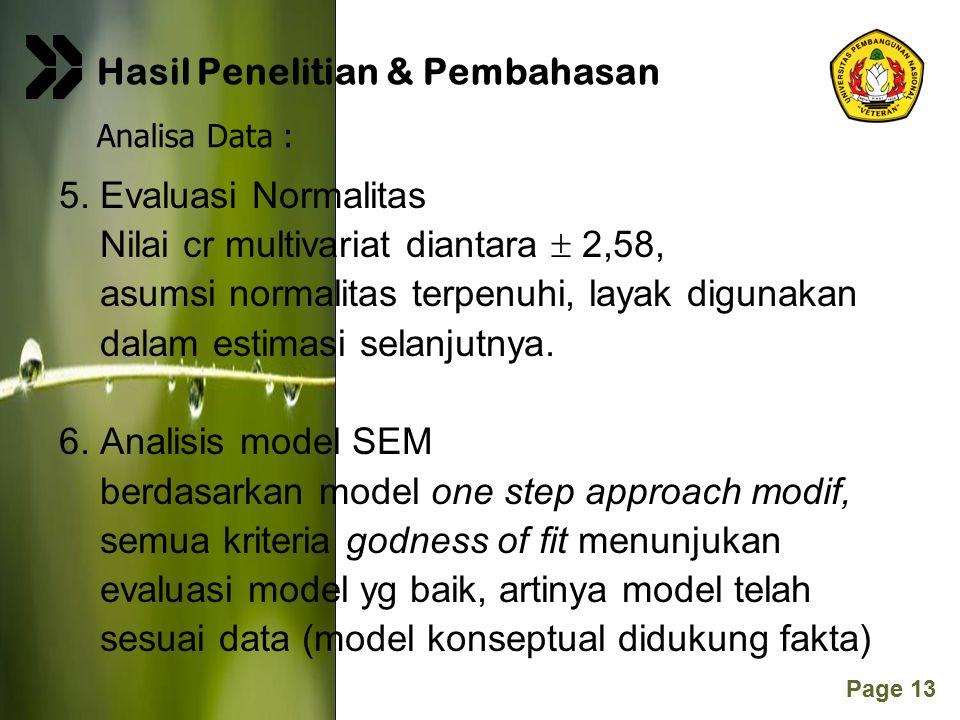 Page 13 5. Evaluasi Normalitas Nilai cr multivariat diantara  2,58, asumsi normalitas terpenuhi, layak digunakan dalam estimasi selanjutnya. 6. Anali