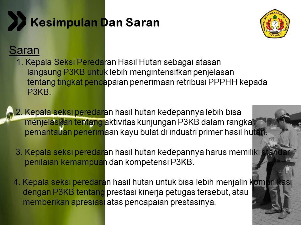 Page 19 Saran 1. Kepala Seksi Peredaran Hasil Hutan sebagai atasan langsung P3KB untuk lebih mengintensifkan penjelasan tentang tingkat pencapaian pen