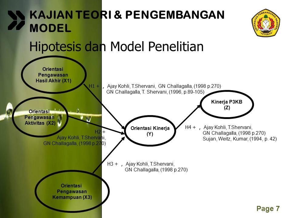 Page 7 KAJIAN TEORI & PENGEMBANGAN MODEL Hipotesis dan Model Penelitian Orientasi Pengawasan Hasil Akhir (X1) H2 + Ajay Kohli, T.Shervani, GN Challaga