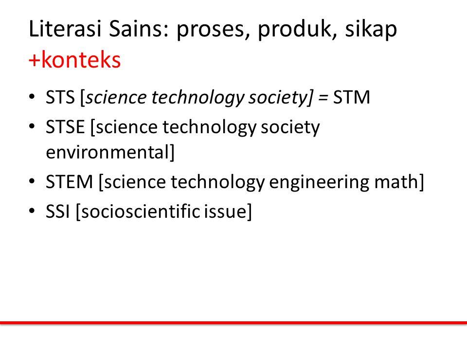 Literasi Sains: proses, produk, sikap +konteks STS [science technology society] = STM STSE [science technology society environmental] STEM [science te