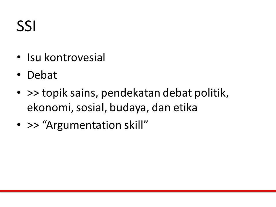 """SSI Isu kontrovesial Debat >> topik sains, pendekatan debat politik, ekonomi, sosial, budaya, dan etika >> """"Argumentation skill"""""""