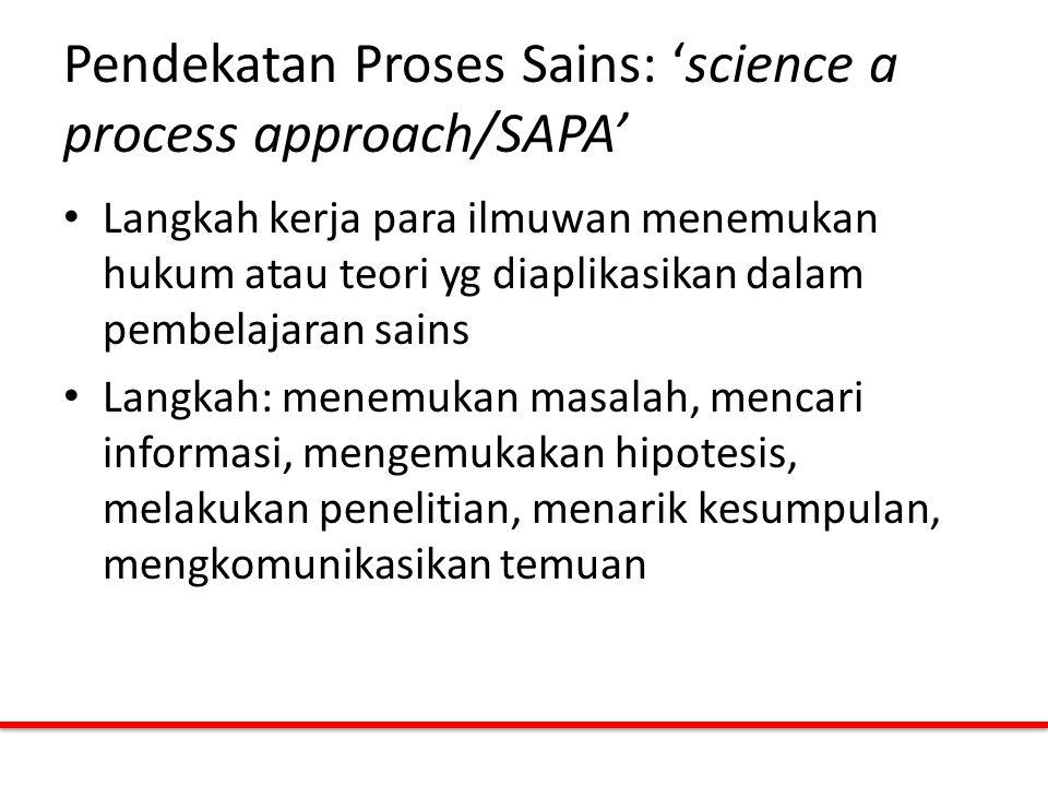 Pendekatan Proses Sains: 'science a process approach/SAPA' Langkah kerja para ilmuwan menemukan hukum atau teori yg diaplikasikan dalam pembelajaran s