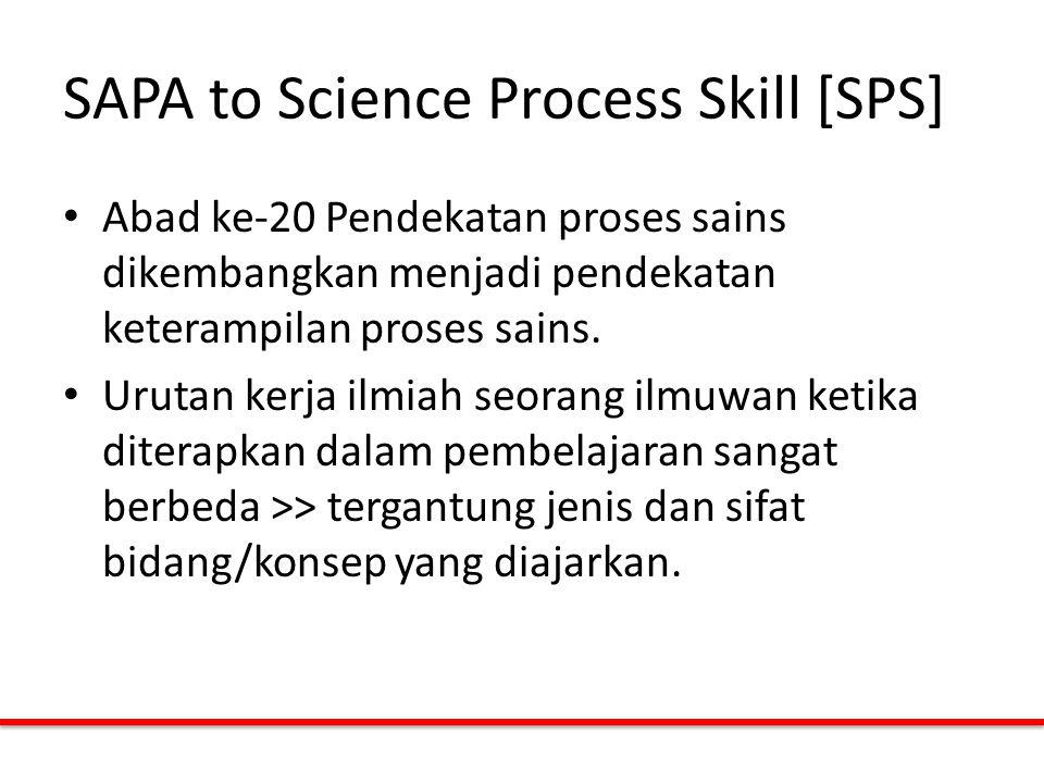 SAPA to Science Process Skill [SPS] Abad ke-20 Pendekatan proses sains dikembangkan menjadi pendekatan keterampilan proses sains. Urutan kerja ilmiah