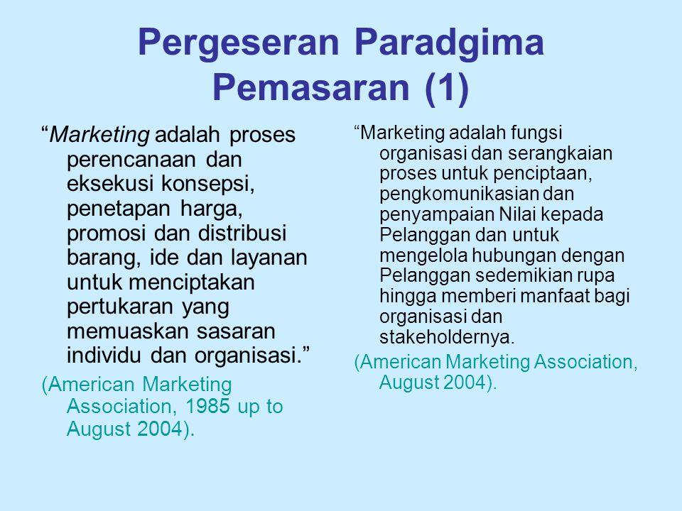 """Pergeseran Paradgima Pemasaran (1) """"Marketing adalah proses perencanaan dan eksekusi konsepsi, penetapan harga, promosi dan distribusi barang, ide dan"""