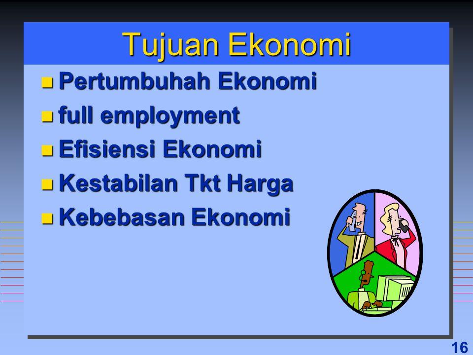 16 Tujuan Ekonomi n Pertumbuhah Ekonomi n full employment n Efisiensi Ekonomi n Kestabilan Tkt Harga n Kebebasan Ekonomi