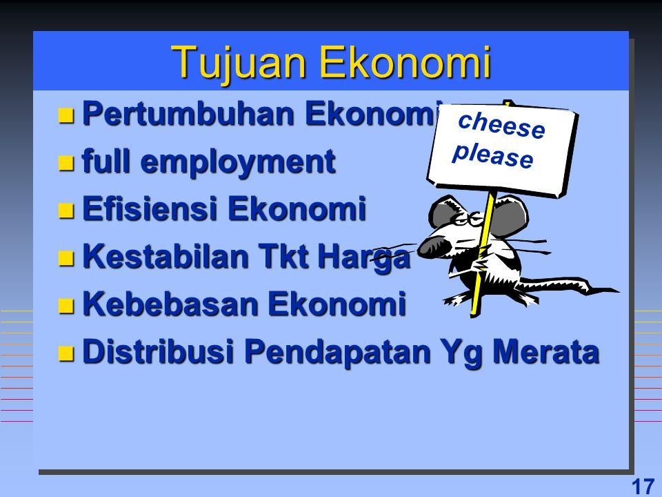 17 Tujuan Ekonomi n Pertumbuhan Ekonomi n full employment n Efisiensi Ekonomi n Kestabilan Tkt Harga n Kebebasan Ekonomi n Distribusi Pendapatan Yg Me