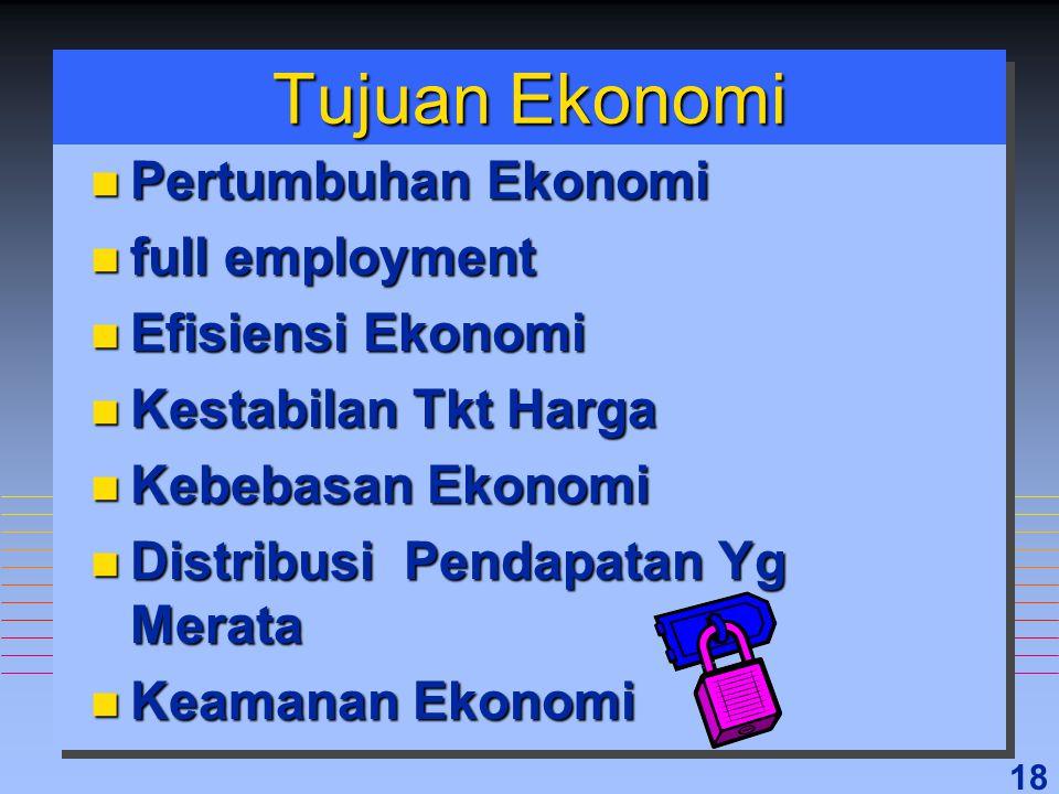 18 Tujuan Ekonomi n Pertumbuhan Ekonomi n full employment n Efisiensi Ekonomi n Kestabilan Tkt Harga n Kebebasan Ekonomi n Distribusi Pendapatan Yg Me