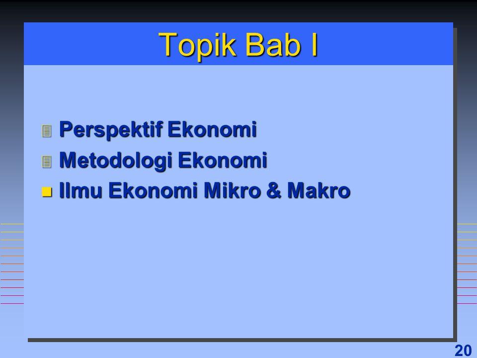 20 Topik Bab I 3 Perspektif Ekonomi 3 Metodologi Ekonomi n Ilmu Ekonomi Mikro & Makro