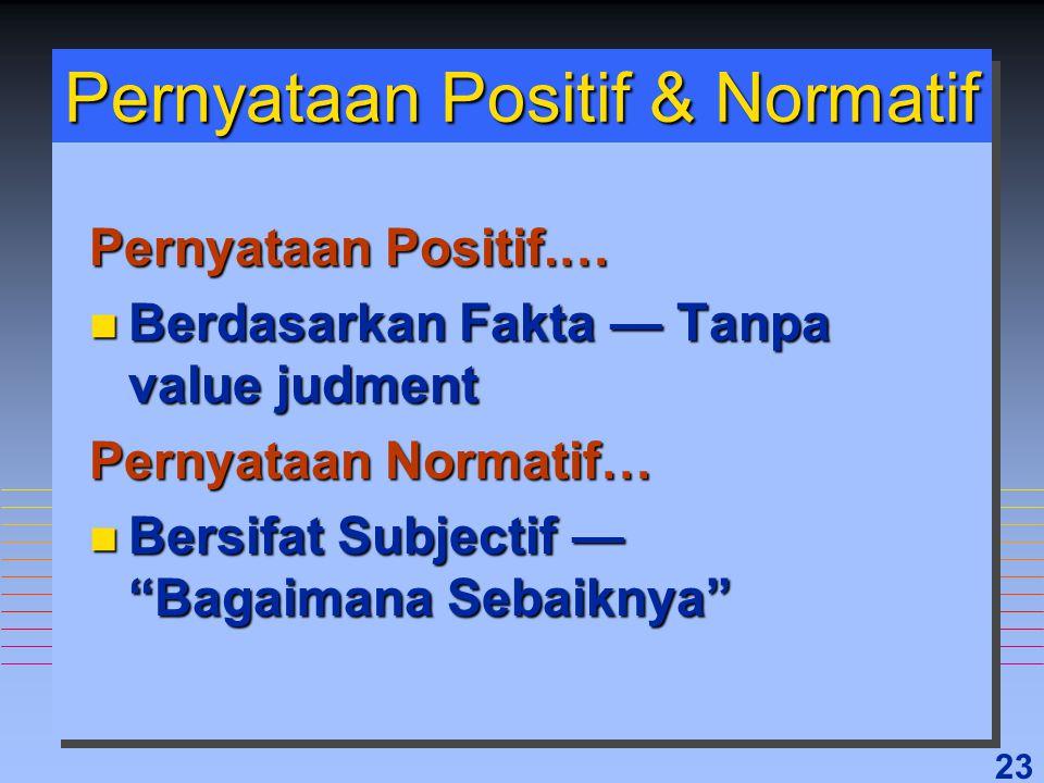 "23 Pernyataan Positif & Normatif Pernyataan Positif.… n Berdasarkan Fakta — Tanpa value judment Pernyataan Normatif… n Bersifat Subjectif — ""Bagaimana"