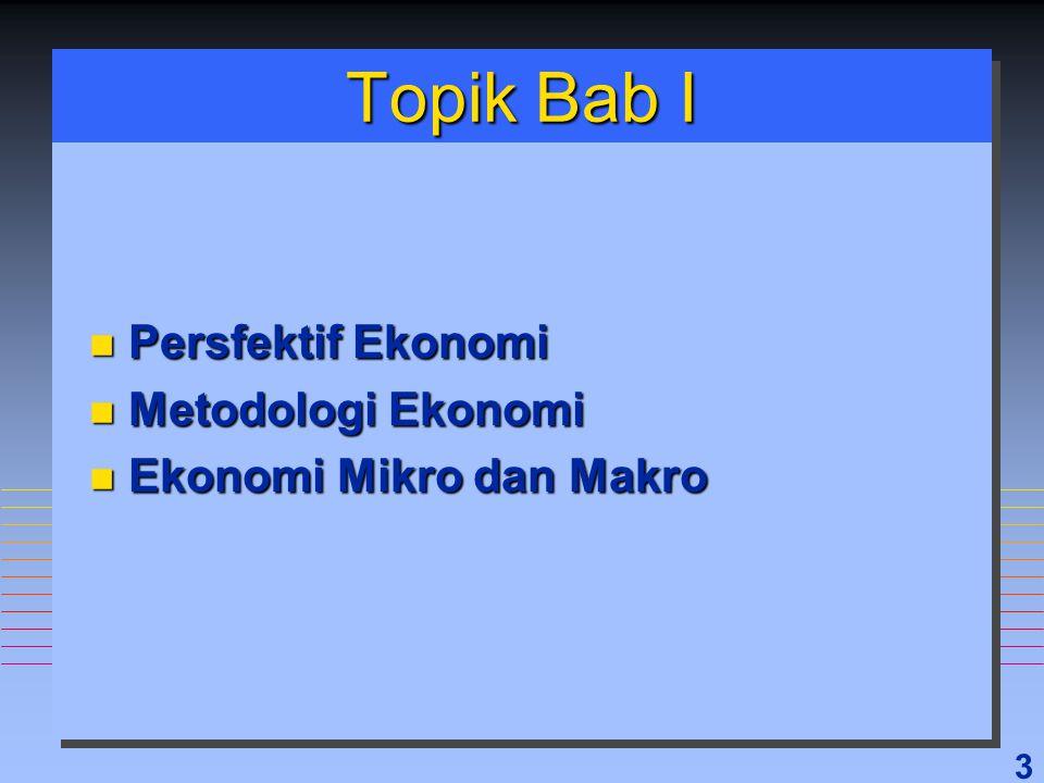24 Topik Bab I 3 Perspektif Ekonomi 3 Metodologi Ekonomi 3 Ilmu Ekonomi Mikro & Makro