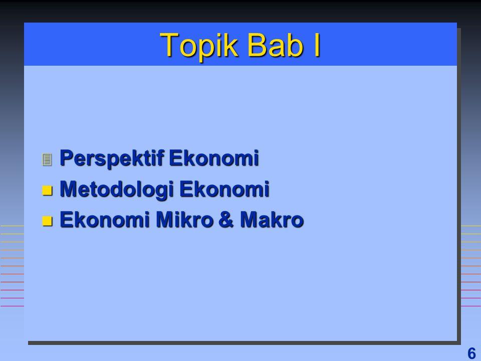 6 Topik Bab I 3 Perspektif Ekonomi n Metodologi Ekonomi n Ekonomi Mikro & Makro