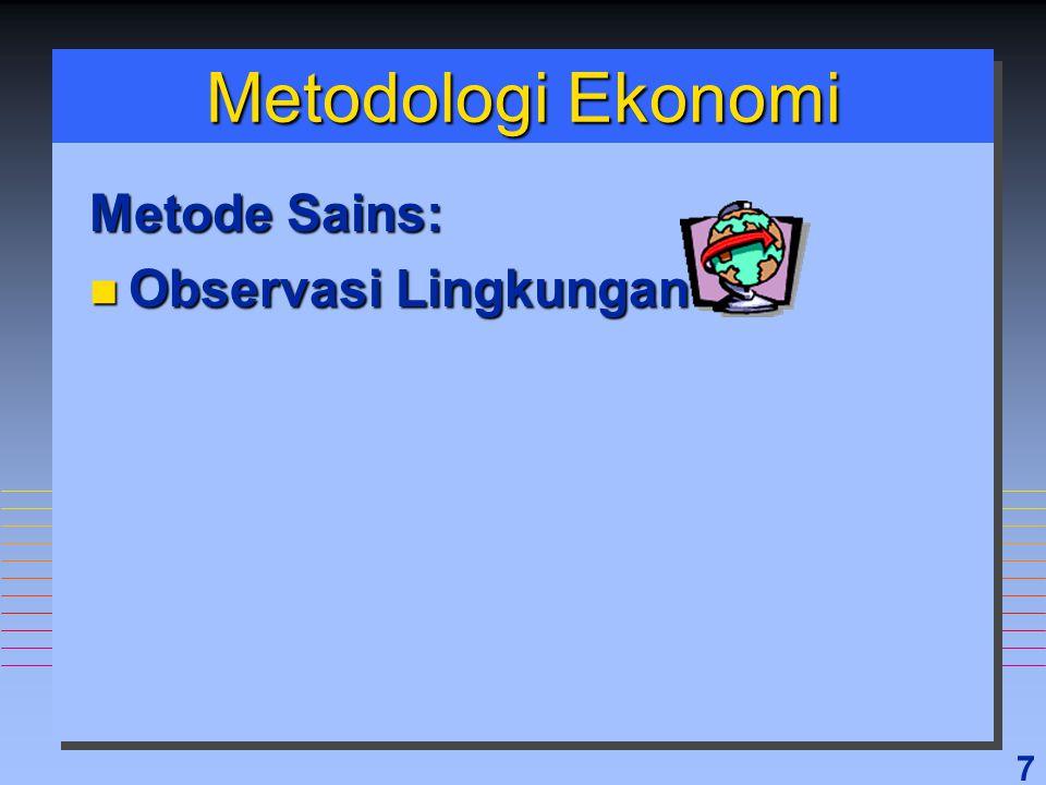8 Metodologi Ekonomi Metode Sains: n Observasi Lingkungan n Formulasi Hipotesis n Membandingkan Hasil dan Prediksi n Teori, Hukum, Prinsip, Model