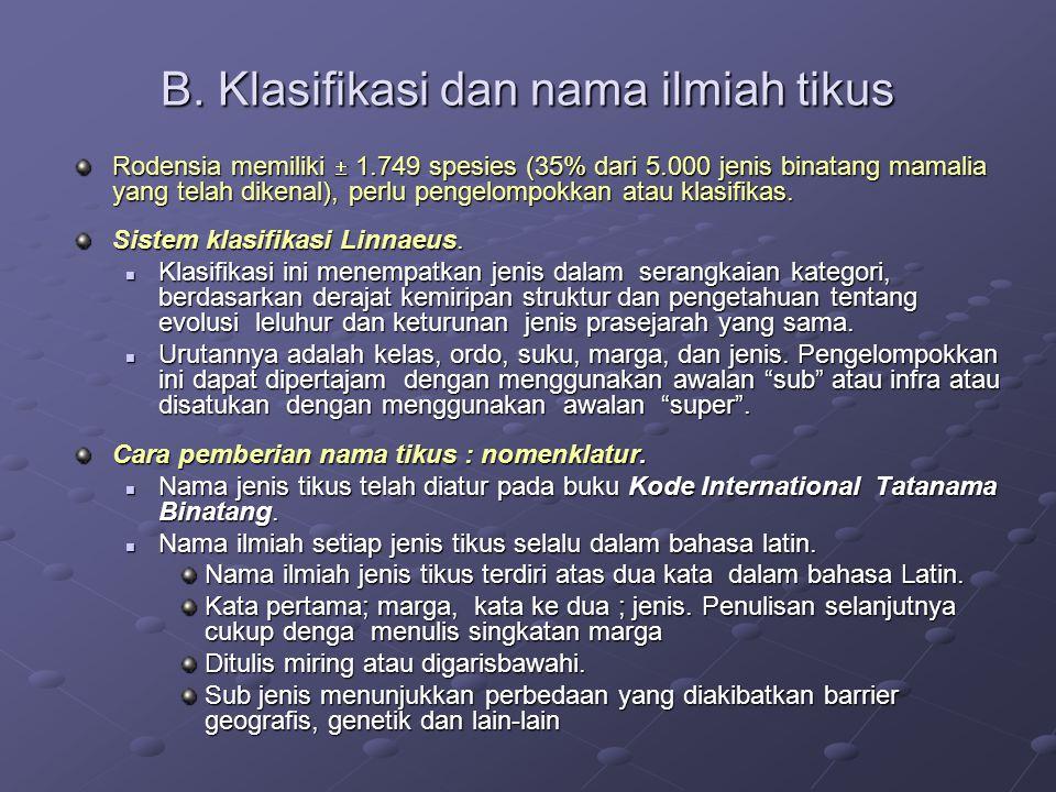 Strien (1983) A guide of the track of mammals of western Indonesia, klasifikasi tikus di Indonesia sebagai berikut : Klas: Mammalia Ordo: Rodentia Familia: Muridae Sub familia: 1.