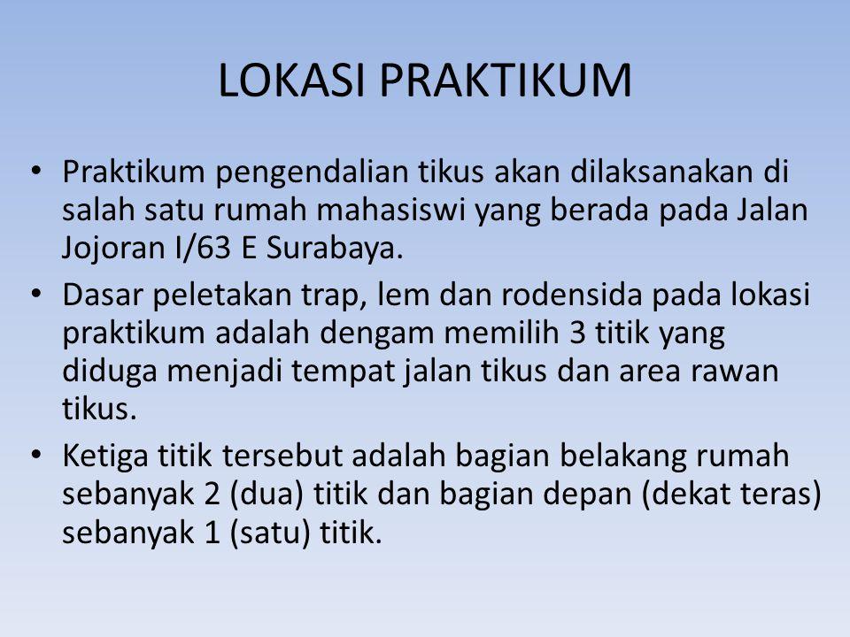 LOKASI PRAKTIKUM Praktikum pengendalian tikus akan dilaksanakan di salah satu rumah mahasiswi yang berada pada Jalan Jojoran I/63 E Surabaya. Dasar pe