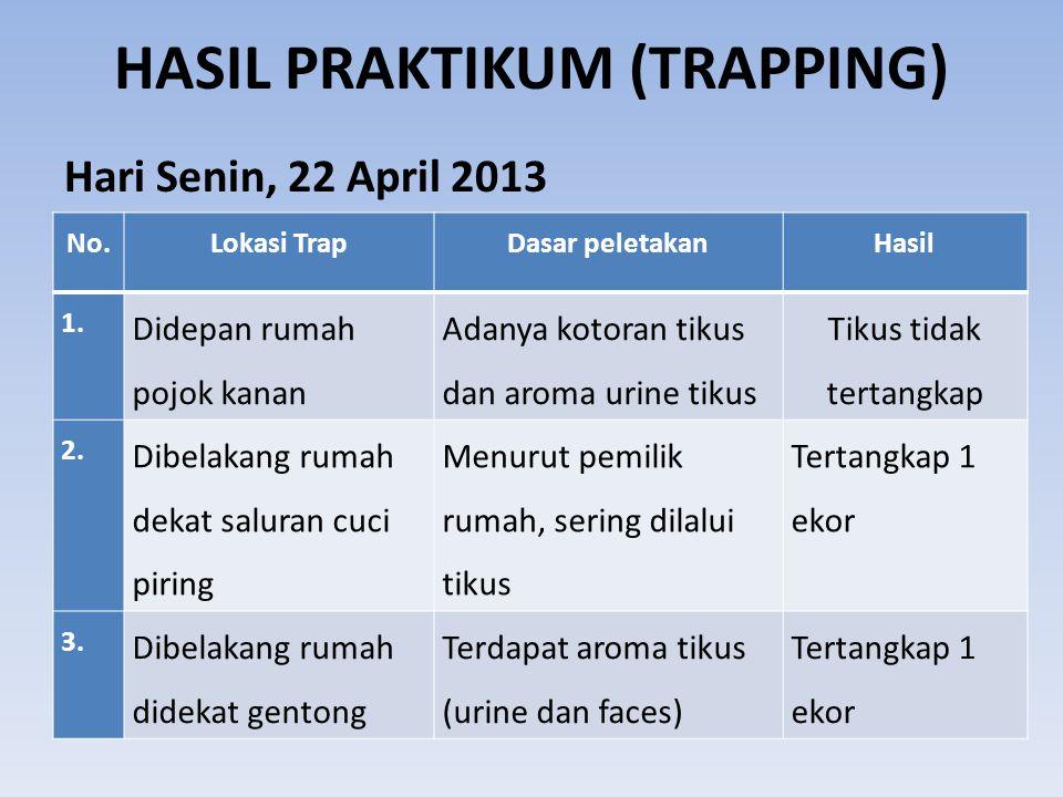 HASIL PRAKTIKUM (TRAPPING) Hari Senin, 22 April 2013 No.Lokasi TrapDasar peletakanHasil 1. Didepan rumah pojok kanan Adanya kotoran tikus dan aroma ur