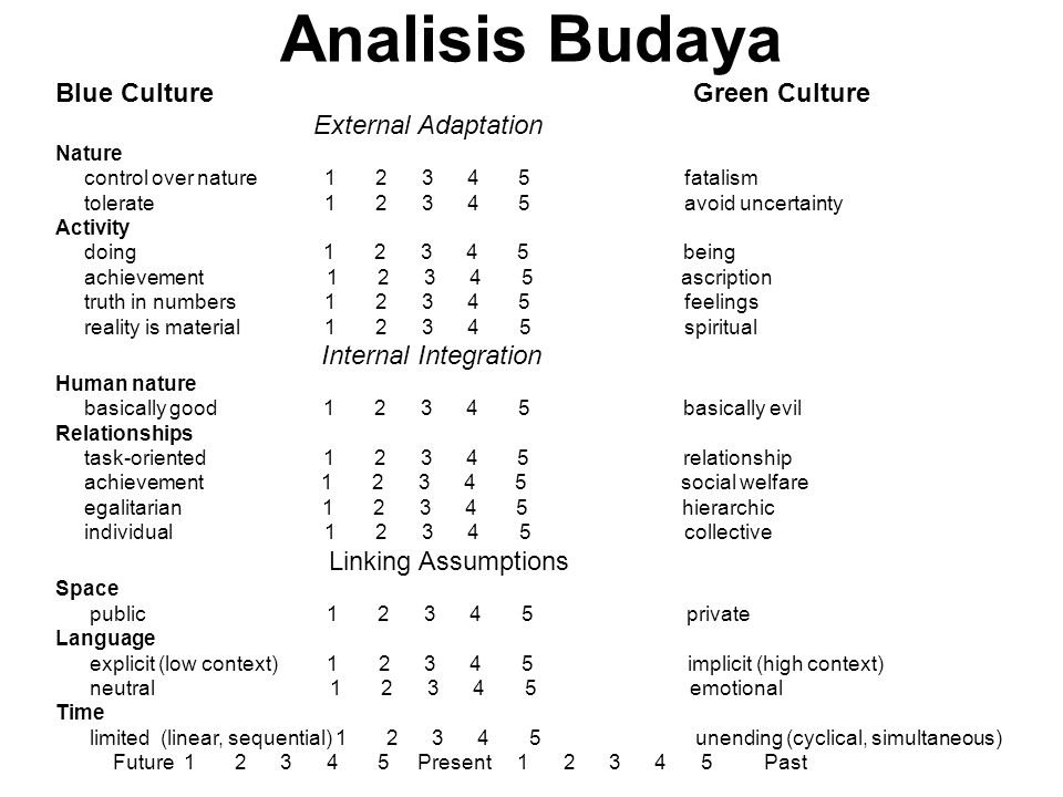 Determinasi budaya organisasi dalam strategi External AdaptationStrategy Relationship with Nature uncertainty control Human activity doing vs being achievement vs ascription Truth and Reality Controlling/adapting Right moves vs right stuff Actions vs competences Facts and figures Intuition and philosophy Internal IntegrationStrategy Human nature Nature of relationships power and status individual/ collective task/ social Language high/low context Time monochronic/ polychronic long terms/ short term Who is capable of making decision Who has the right, legitimacy Who is responsible/ accountable Goals are explicit Strategy clearly articulated Decisions discrete Step-by-step action plans Speed of decisions Time frames of implementating