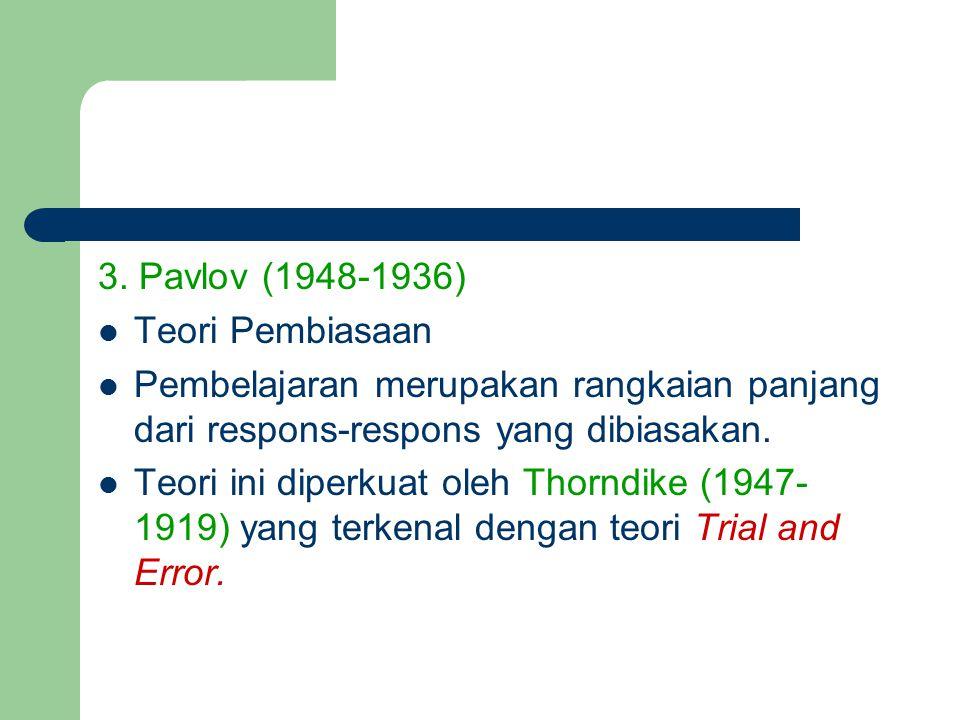 3. Pavlov (1948-1936) Teori Pembiasaan Pembelajaran merupakan rangkaian panjang dari respons-respons yang dibiasakan. Teori ini diperkuat oleh Thorndi