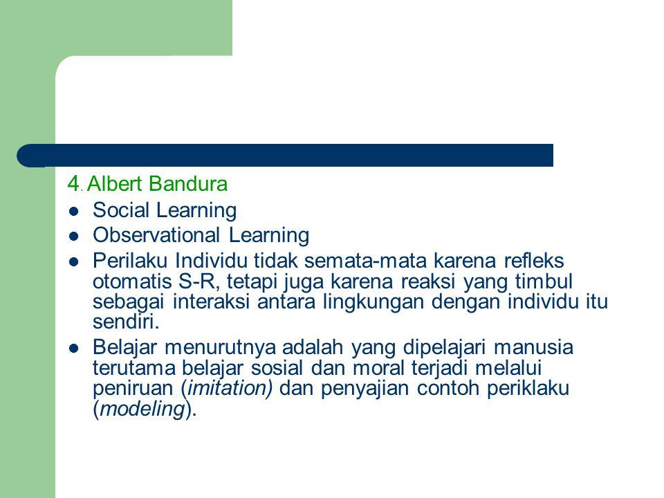 4. Albert Bandura Social Learning Observational Learning Perilaku Individu tidak semata-mata karena refleks otomatis S-R, tetapi juga karena reaksi ya