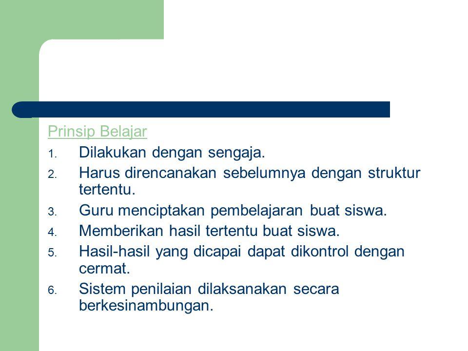 Prinsip Belajar 1.Dilakukan dengan sengaja. 2.