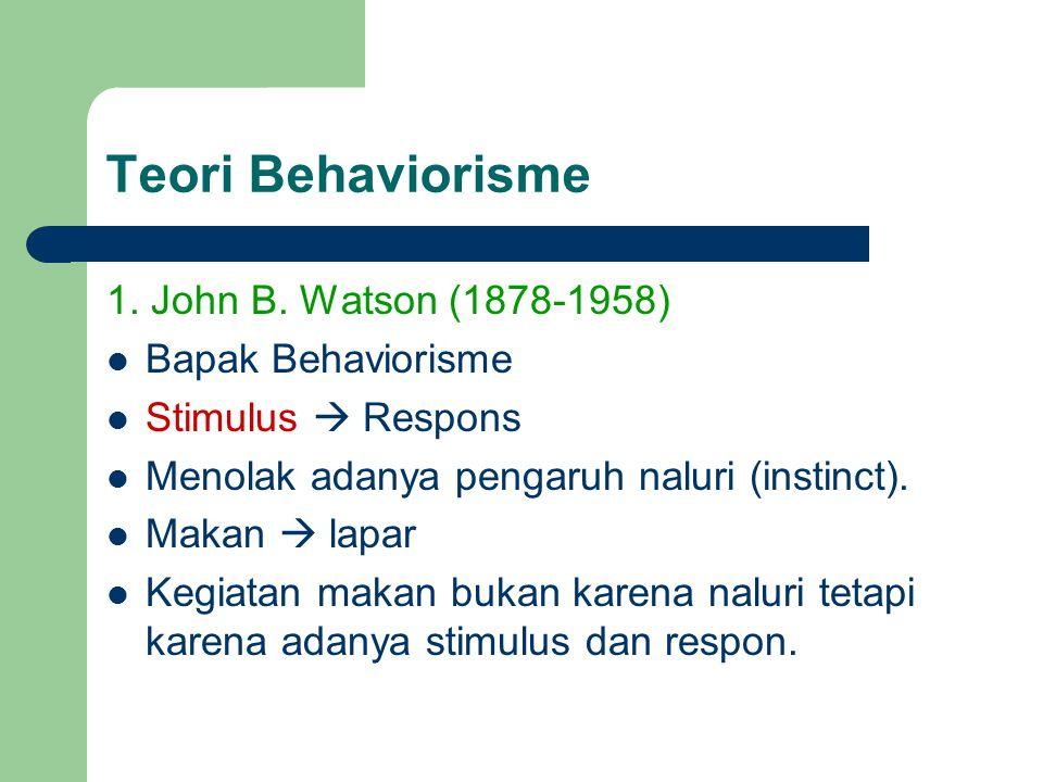 Teori Behaviorisme 1. John B. Watson (1878-1958) Bapak Behaviorisme Stimulus  Respons Menolak adanya pengaruh naluri (instinct). Makan  lapar Kegiat