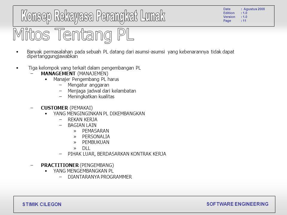 SOFTWARE ENGINEERING STIMIK CILEGON Date Edition Version Page : Agustus 2008 : 1.0 : 11 Banyak permasalahan pada sebuah PL datang dari asumsi-asumsi y