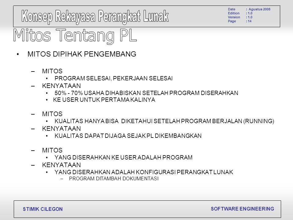 SOFTWARE ENGINEERING STIMIK CILEGON Date Edition Version Page : Agustus 2008 : 1.0 : 14 MITOS DIPIHAK PENGEMBANG – MITOS PROGRAM SELESAI, PEKERJAAN SE