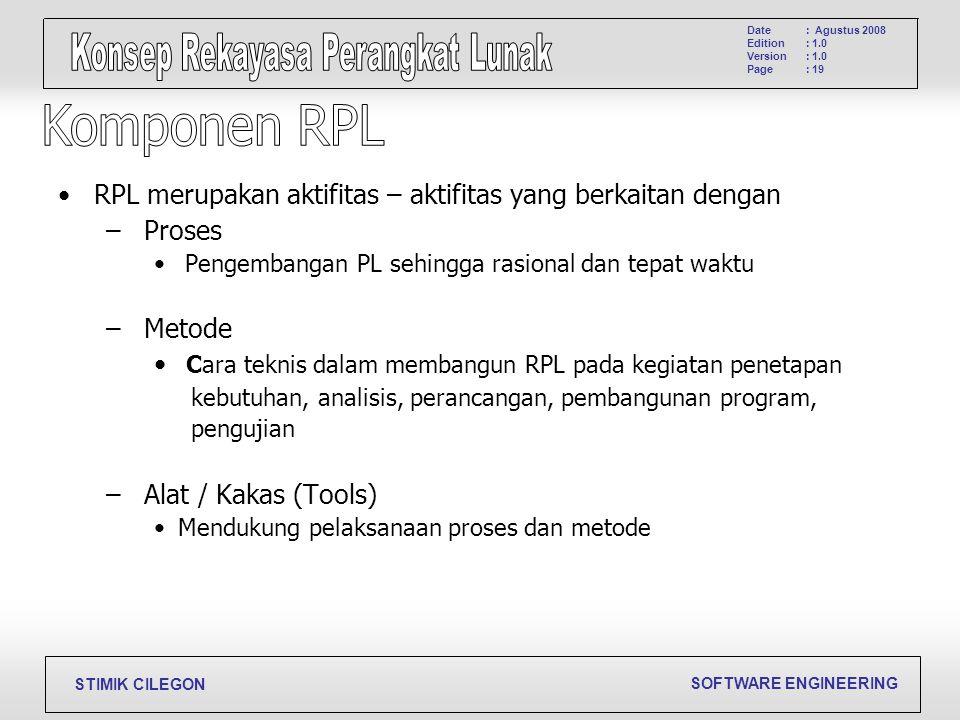 SOFTWARE ENGINEERING STIMIK CILEGON Date Edition Version Page : Agustus 2008 : 1.0 : 19 RPL merupakan aktifitas – aktifitas yang berkaitan dengan – Pr