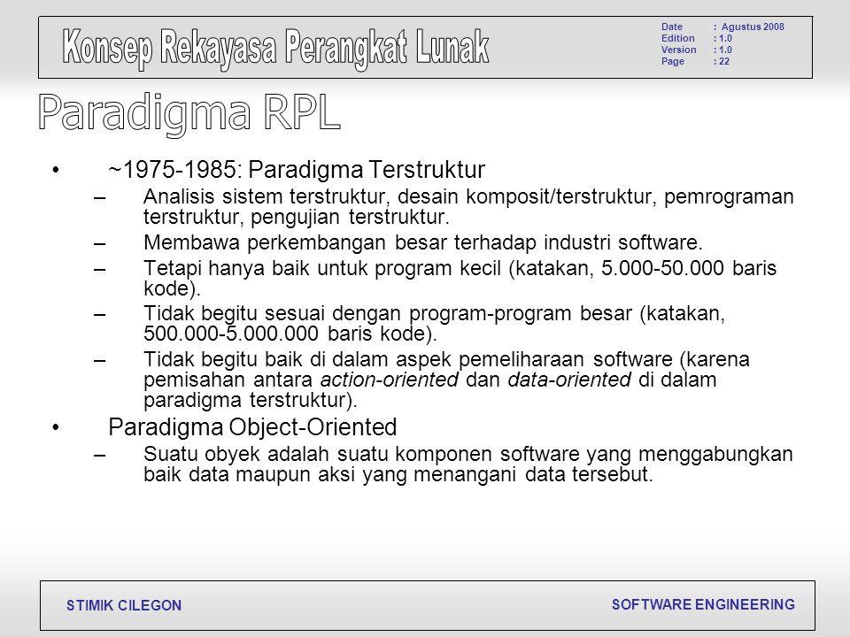 SOFTWARE ENGINEERING STIMIK CILEGON Date Edition Version Page : Agustus 2008 : 1.0 : 22 ~1975-1985: Paradigma Terstruktur –Analisis sistem terstruktur