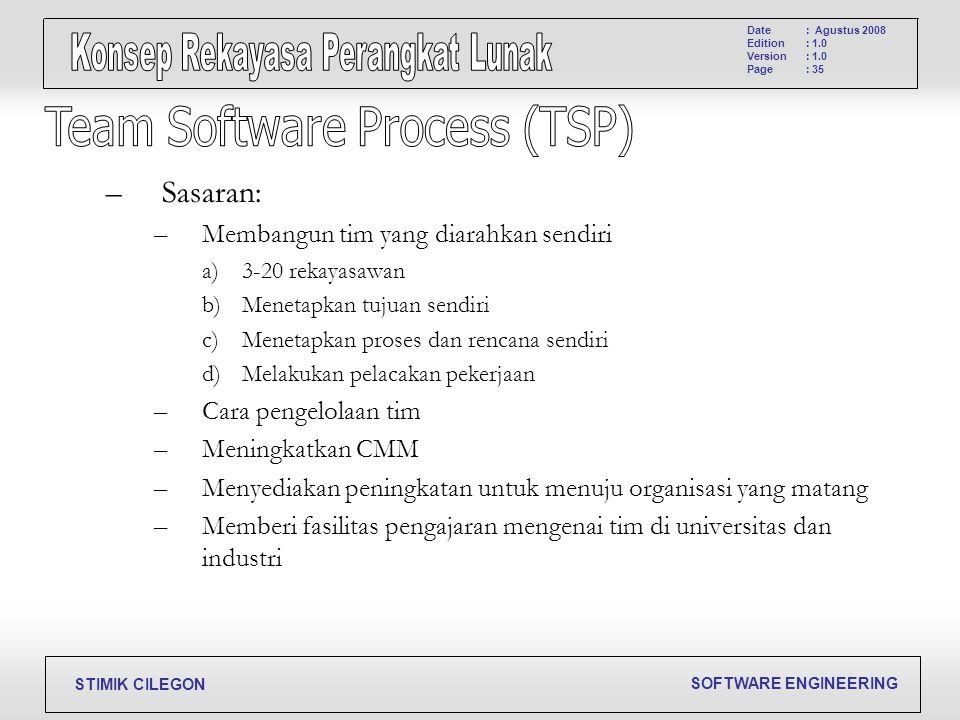 SOFTWARE ENGINEERING STIMIK CILEGON Date Edition Version Page : Agustus 2008 : 1.0 : 35 –Sasaran: –Membangun tim yang diarahkan sendiri a)3-20 rekayas