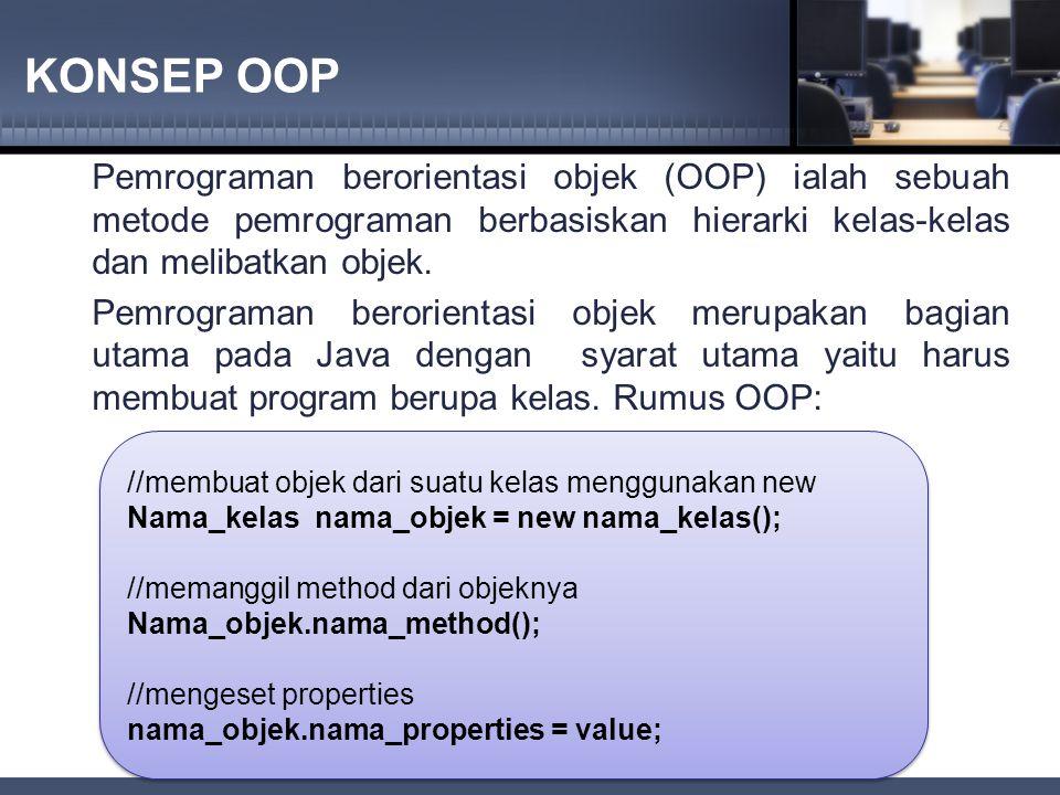 KONSEP OOP Pemrograman berorientasi objek (OOP) ialah sebuah metode pemrograman berbasiskan hierarki kelas-kelas dan melibatkan objek.