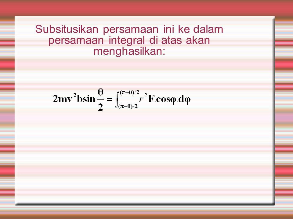 Momentum sudut partikel alfa sekitar inti adalah kosntan. m  r 2 = konstan = m r 2 d  /dt = mvb Atau