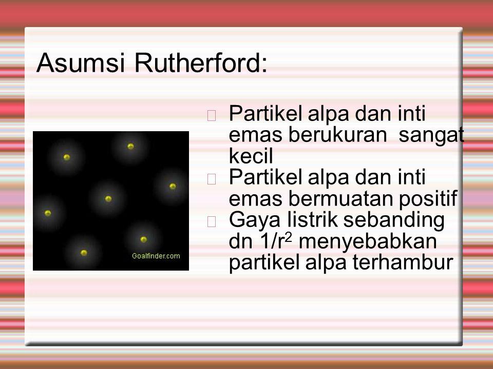 Asumsi Rutherford: Partikel alpa dan inti emas berukuran sangat kecil Partikel alpa dan inti emas bermuatan positif Gaya listrik sebanding dn 1/r 2 menyebabkan partikel alpa terhambur