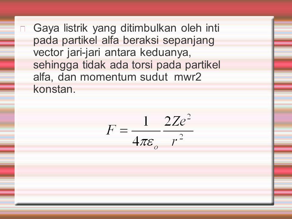 Gaya listrik yang ditimbulkan oleh inti pada partikel alfa beraksi sepanjang vector jari-jari antara keduanya, sehingga tidak ada torsi pada partikel alfa, dan momentum sudut mwr2 konstan.