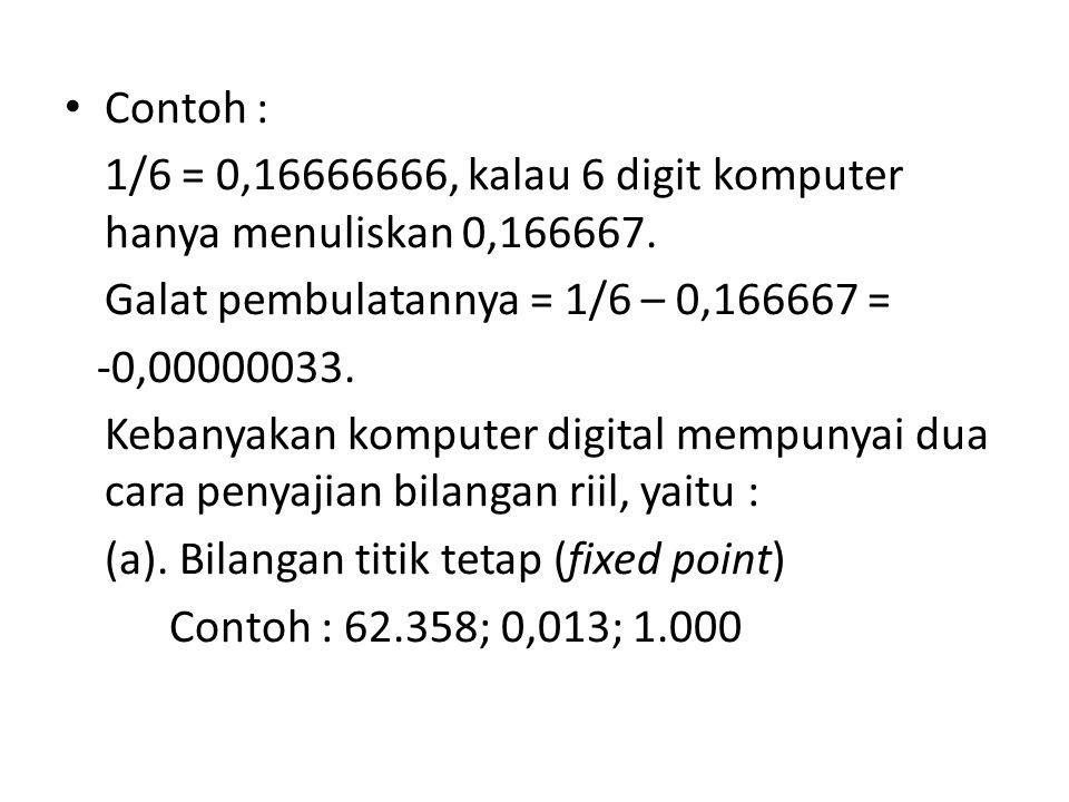 Contoh : 1/6 = 0,16666666, kalau 6 digit komputer hanya menuliskan 0,166667.