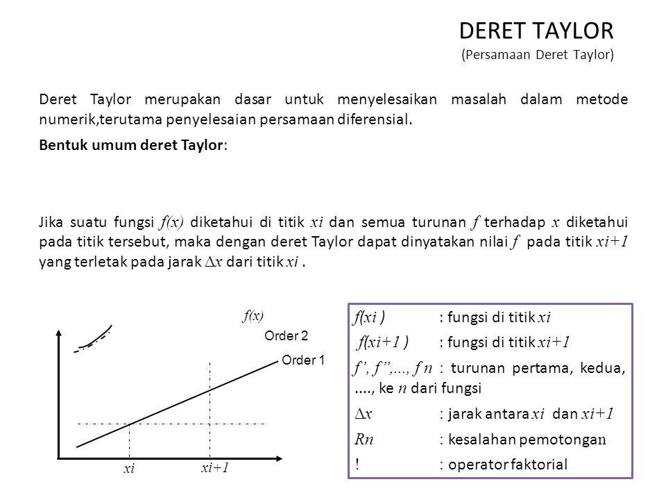 DERET TAYLOR (Persamaan Deret Taylor) Deret Taylor merupakan dasar untuk menyelesaikan masalah dalam metode numerik,terutama penyelesaian persamaan di