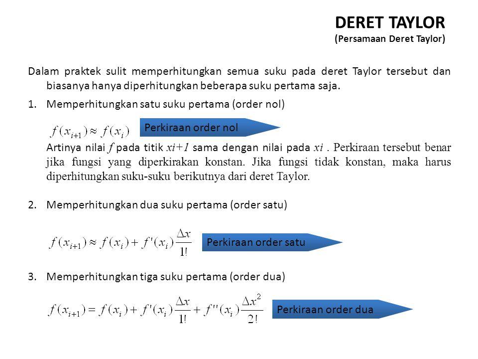 Dalam praktek sulit memperhitungkan semua suku pada deret Taylor tersebut dan biasanya hanya diperhitungkan beberapa suku pertama saja. 1.Memperhitung