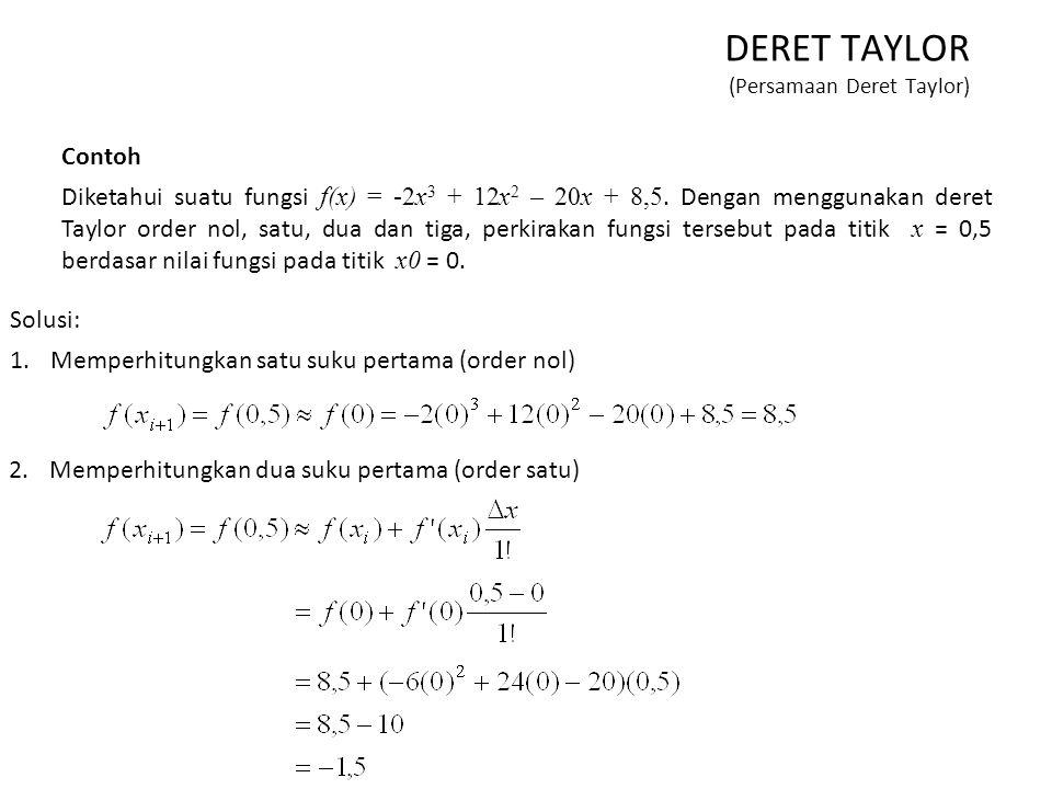 Contoh Diketahui suatu fungsi f(x) = -2x 3 + 12x 2 – 20x + 8,5. Dengan menggunakan deret Taylor order nol, satu, dua dan tiga, perkirakan fungsi terse